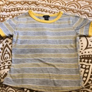 Grey and yellow striped t-shirt